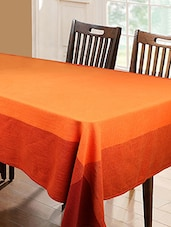 Dhrohar Hand Woven Cotton Twill Table Cover For 4 Seater Table - Orange - By