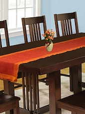 Dhrohar Hand Woven Cotton Table Runner - Orange - By