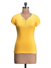 Yellow Cotton Knit Plain Top - By