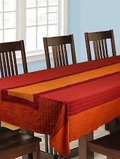 Dhrohar Hand Woven Cotton Table Runner - Orange - Reversible - By