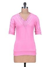 Pink Cotton Plain Top - By