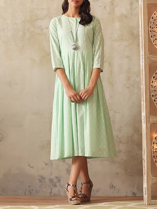 Mint cotton pleated dress