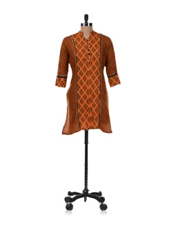 Orange Printed Kurta - SHREE