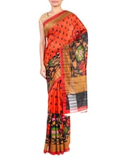 Multicolor Printed Bhagalpuri Silk Saree - By