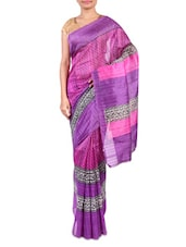 Purple Printed Bhagalpuri Silk Saree - By