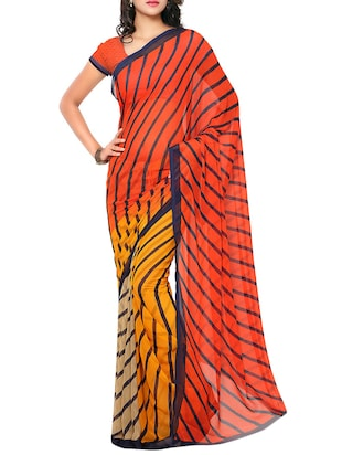 Multicolored chiffon Printed Saree