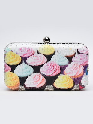 Multicoloured cupcakes printed box clutch