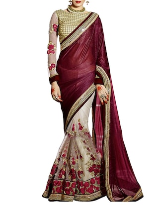 maroon net half and saree -  online shopping for Sarees