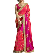 peach georgette saree -  online shopping for Sarees