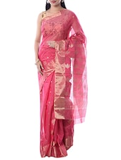 Pink Chanderi Silk Woven Saree -  online shopping for Sarees