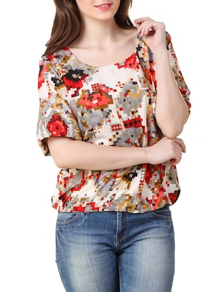 multicolored printed crepe top
