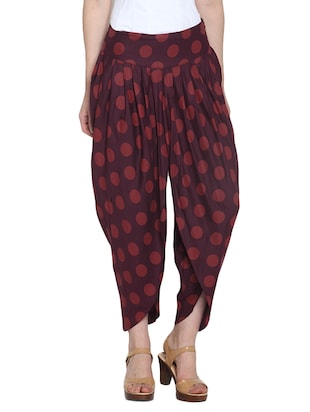 Wine printed rayon dhoti pants