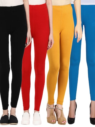 set of 4 multi colored cotton leggings