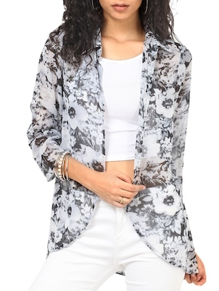 white floral printed polyester regular shrug