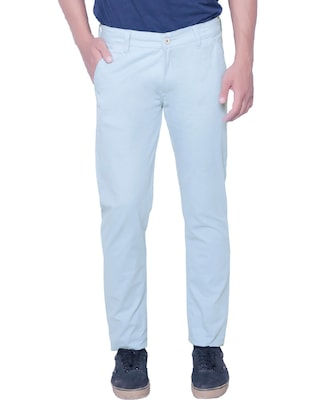 light blue cotton chinos casual trousers