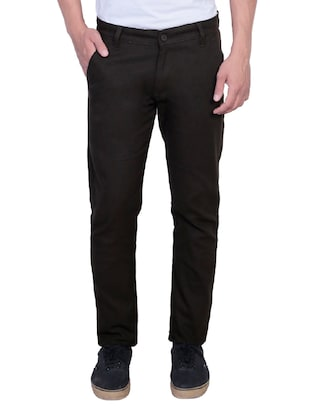 black cotton chinos casual trousers