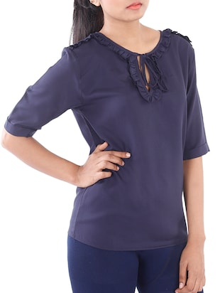 navy blue poly crepe regular top