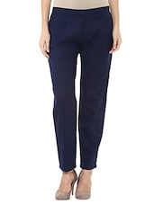 navy blue cotton flat front tapered pant -  online shopping for Tapered Pants