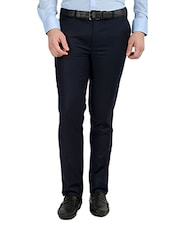 navy blue polyester flat front trousers formal -  online shopping for Formal Trousers