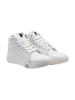 white synthetic lace up sneakers