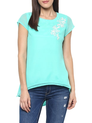 green georgette assymmetric top