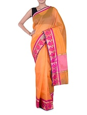 Orange Banarasi Saree With Floral Border - By