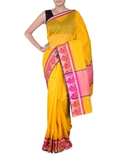 Yellow Banarasi Saree With Floral Border - By
