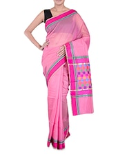 Pink Banarasi Saree With Multicoloured Aanchal - By