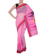 Pink Banarasi Saree With Temple Aanchal - By