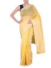 Yellow Banarasi Saree With Gold Border - By