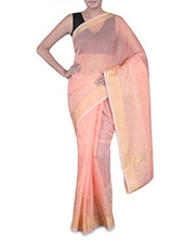 Peach Banarasi Saree With Gold Border - By