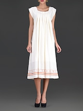 Ivory Pleated Midi-Dress - By