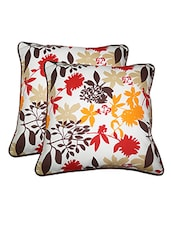 "Lushomes Leaf Printed Cotton Cushion Covers With Co-ordinating Cord Piping (Size 12"" X 12"") Pack Of 2 - By"
