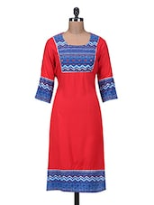 Red Rayon Solid Kurta - By