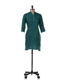 Green And Gold Printed Kurta - SHREE