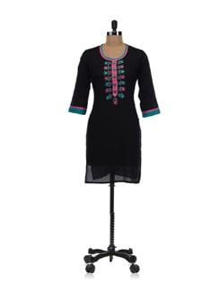 Black Embroidered Kurta - SHREE