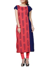 blue and pink crepe straight kurti -  online shopping for kurtis