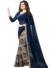 blue & grey georgette printed half & half saree -  online shopping for Sarees