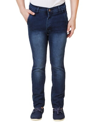 navy blue cotton washed jeans -  online shopping for Jeans