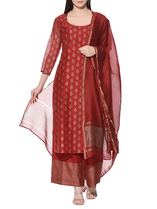 red chanderi salwar suits stitched suit -  online shopping for Stitched Suits