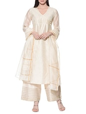 cream chanderi salwar suits stitched suit -  online shopping for Stitched Suits