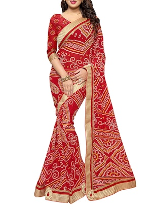 Red faux georgette bandhani saree