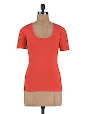 Solid Red Cotton Spandex Top - By