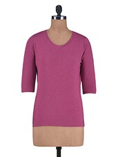 Solid Pink Cotton Slub Jersey Top - By