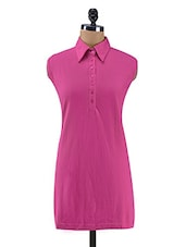 Solid Pink Cotton Dress - By