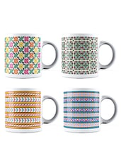 Multicolor Set Of 4 Mosaic Design Ceramic Mug - By