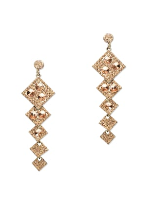 Gold stone studded metallic earring