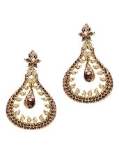 Brown Stone Studded Metallic Earring - By