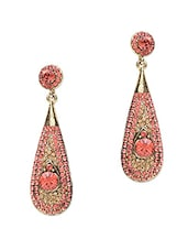 Red Stone Studded Metallic Earring - By - 1250185