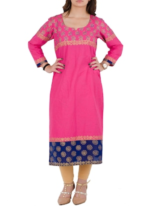 pink cotton straight kurta
